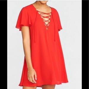 Show Me Your MuMu Dresses - show me your mumu red Kylie Lace Up Dress Sz.S